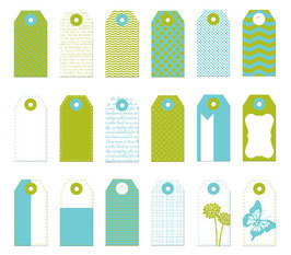 Donna Downey Mini Tags - Teal & Green
