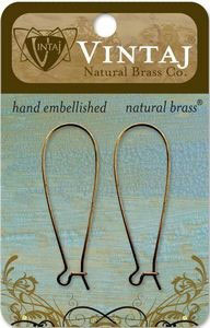 Vintaj Natural Brass 45 x17mm Long Arched Ear Wire