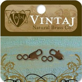 Vintaj Natural Brass 18x6mm Lobster & Eye Clasp