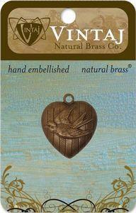 Vintaj Natural Brass Love Bird Heart Charm