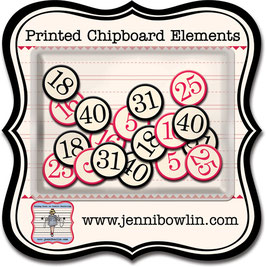 Jenni Bowlin Printed Chipboard Elements - Bingo Numbers