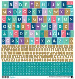 BasicGrey Aurora Alphabet Stickers  12x12 sheet