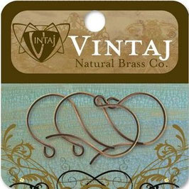 Vintaj Natural Brass 27x15mm Round Loop Ear Wire