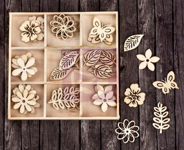 Prima Wood Icons In A Box: Leaves & Flowers