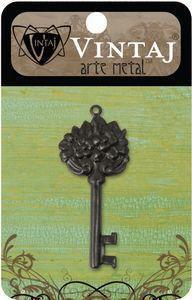 Vintaj Arte Metal Floral Key