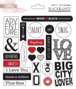 Glitz Design Black & White Puffy Stickers