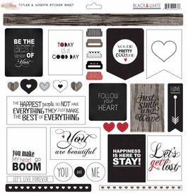 Glitz Design Black & White Titles & Accents Stickers