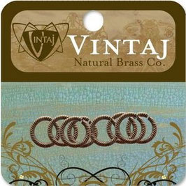 Vintaj Natural Brass 9.5mm Etched Jump Ring (JDR10R)