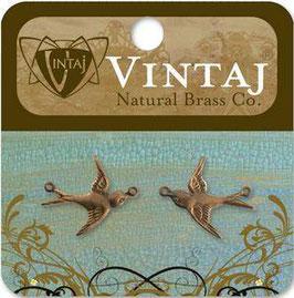 Vintaj Natural Brass Flying Birds