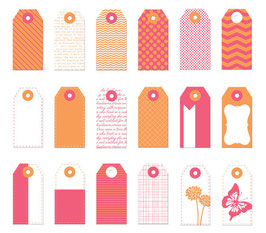 Donna Downey Mini Tags - Orange & Pink