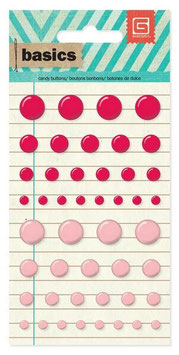 Basic Grey Candy Buttons: Red/Pink