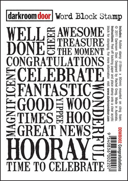 Darkroom Door Word Block Stamp: Congratulations