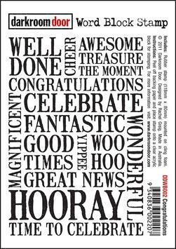 Darkroom Door Word Block Stamp: Congratulations