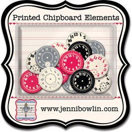 Jenni Bowlin Printed Chipboard Elements - Watch Faces