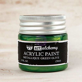 Finnabair Art Alchemy Acrylic Paint: Metallique Green Olive
