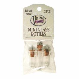 Vintage Sparkle Mini Glass Bottles (51642)