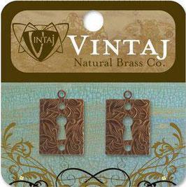Vintaj Natural Brass Embossed Keyhole