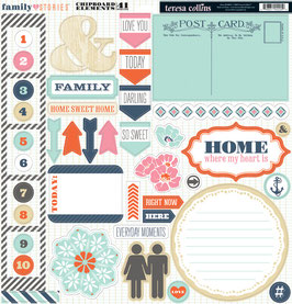 Teresa Collins Family Stories 12x12 Chipboard Elements