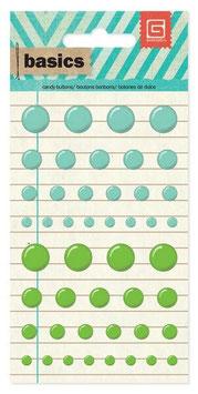 Basic Grey Candy Buttons: Aqua/Green