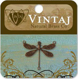 Vintaj Natural Brass Dragonfly Connector