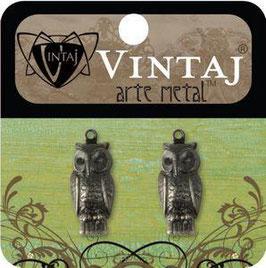 Vintage Arte Metal Perching Owls