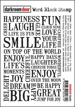 Darkroom Door Cling Foam Mounted Word Block Stamp: Smile