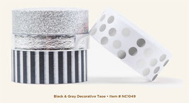 MME Necessities Black & Gray Decorative Tape