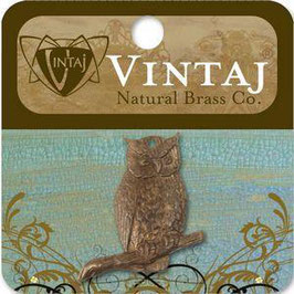 Vintaj Natural Brass Perching Owl