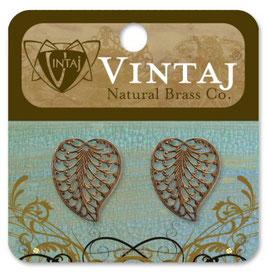 Vintaj Natural Brass Filigree Leaf