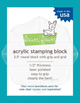 "Lawn Fawn 3.5"" round grip block with grid"