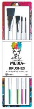 Dina Wakley Media Line Stiff Bristle Paint Brush 4 Piece set