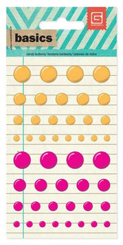 Basic Grey Candy Buttons: Orange/Pink (4174)
