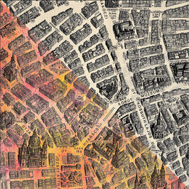 Finnabair 12x12 Black Resist Canvas Sheet: City Map