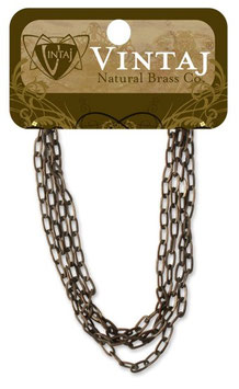Vintaj Natural Brass 2mm Flat Link Chain