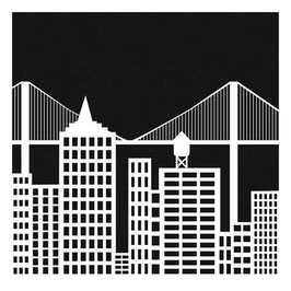 Julie Fei-Fan Balzer 12x12 Stencil: TCW376 Cityscape