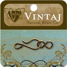Vintaj Natural Brass 35x11mm Hook & Eye Clasp (ES0720)