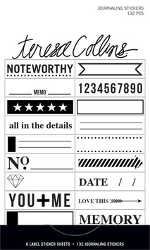 Teresa Collins Signature Essentials Matchbook Stickers:  Journaling