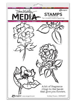 Dina Wakley Media Stamps : Scribbly Flowers