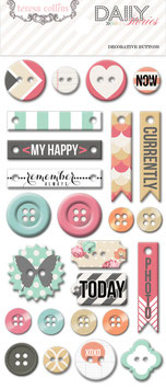 Teresa Collins Daily Stories Decorative Chipboard Buttons