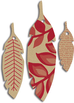 Jenni Bowlin Printed Feather Tags - Kraft