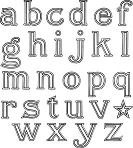 Jenni Bowlin Outline Alphabet Stamps
