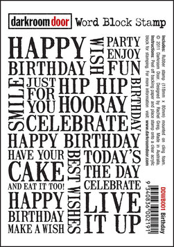 Darkroom Door Unmounted Word Block Stamp: Birthday