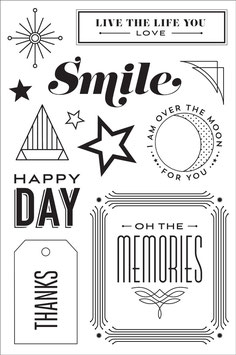 BasicGrey Aurora Happy Day Clear Stamp Set
