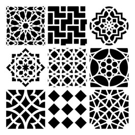 Rhonda Palazzari 6x6 Stencil: TCW385s Moroccan Tiles