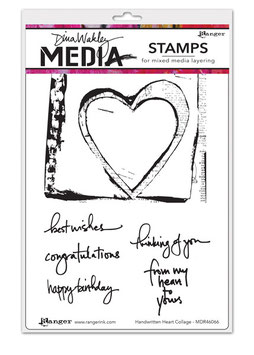 Dina Wakley Media Stamps : Handwritten Heart Collage