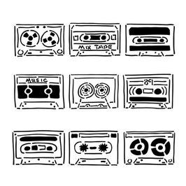 Rhonda Palazzari 6x6 Stencil: TCW401s Stencil Mix Tape