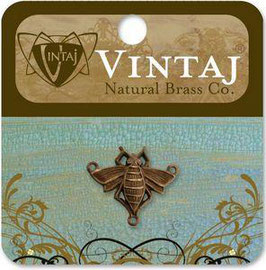 Vintaj Natural Brass Queen Bee Connector