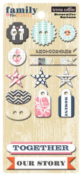 Teresa Collins Family Stories Decorative Chipboard Buttons