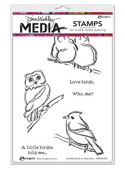 Dina Wakley Media Stamps : Scribbly Birds on Branches