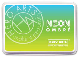 Hero Arts Ombre Ink Pad: Neon Chartreuse to Blue